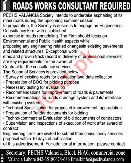 Road Works Consultant Jobs in PECHS Valancia Society