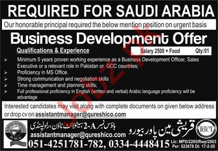 Business Development Officer Jobs in Suadi Arabia