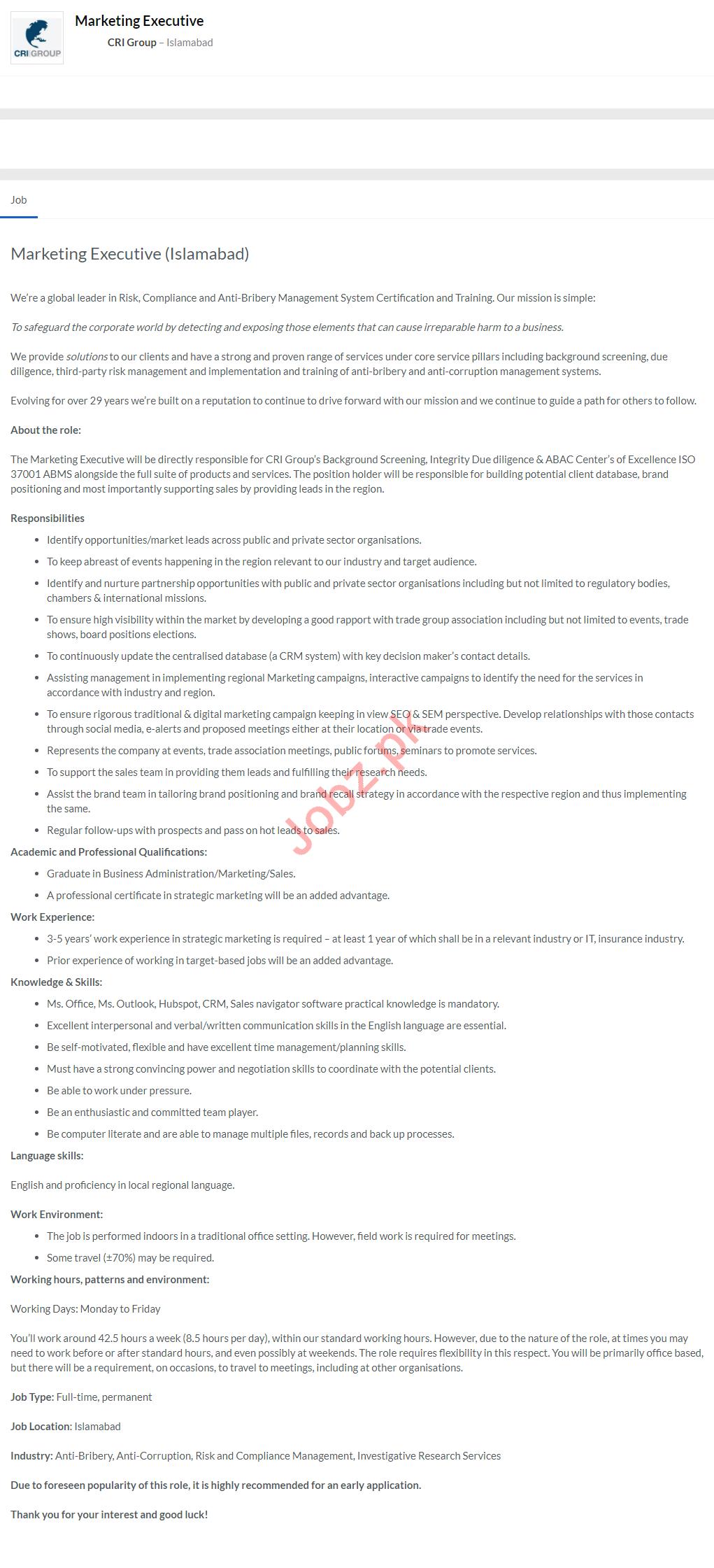 CRI Group Marketing Execurtive Jobs 2020
