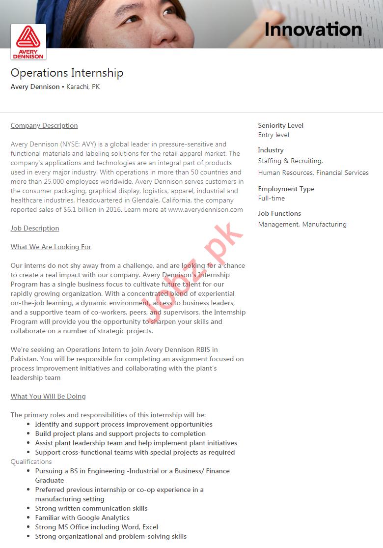Avery Dennison Karachi Jobs 2020