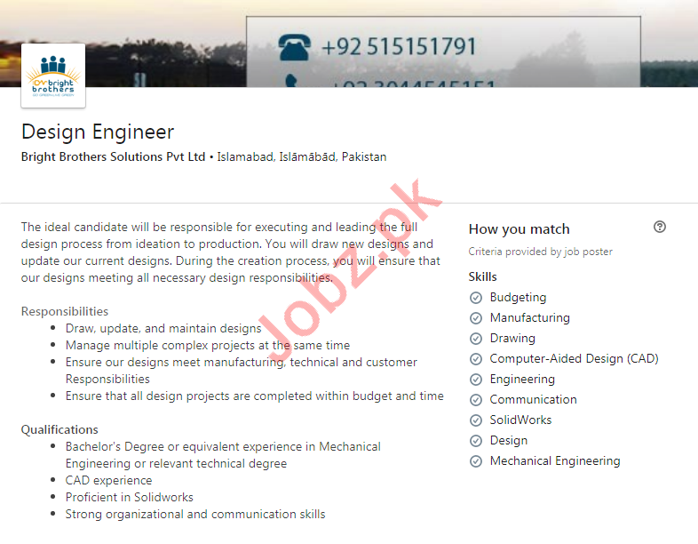 Bright Brothers Solutions Private Limited Islamabad Jobs