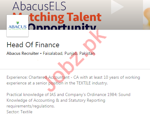 Head of Finance Jobs in Abacus Recruiter