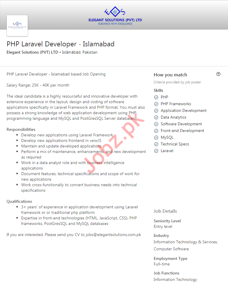 Elegant Solutions Jobs 2020 for PHP Laravel Developer