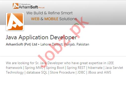 Java Application Developer Jobs in ArhamSoft Private Limited