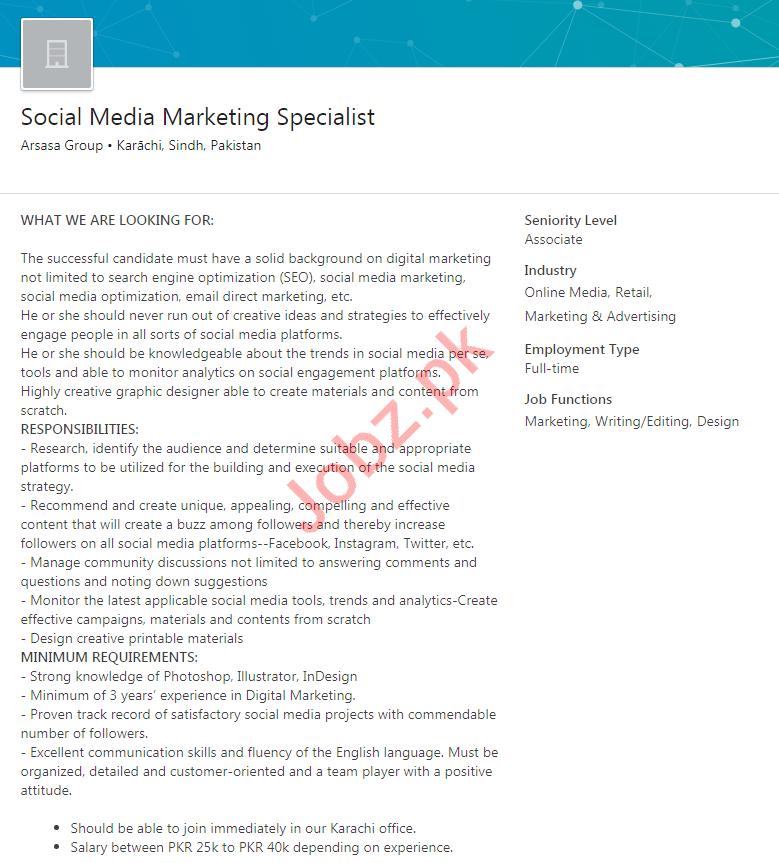 Social Media Marketing Specialist Jobs Arsasa Group