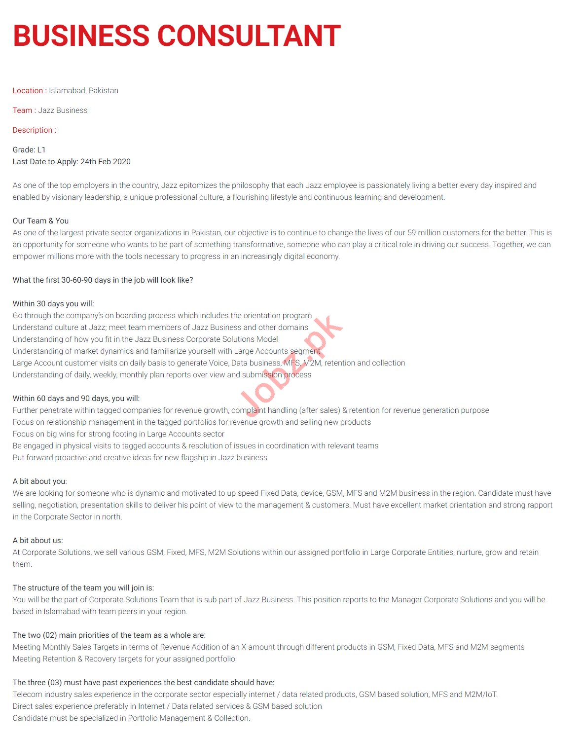 Business Consultant Jobs in Jazz Telecom
