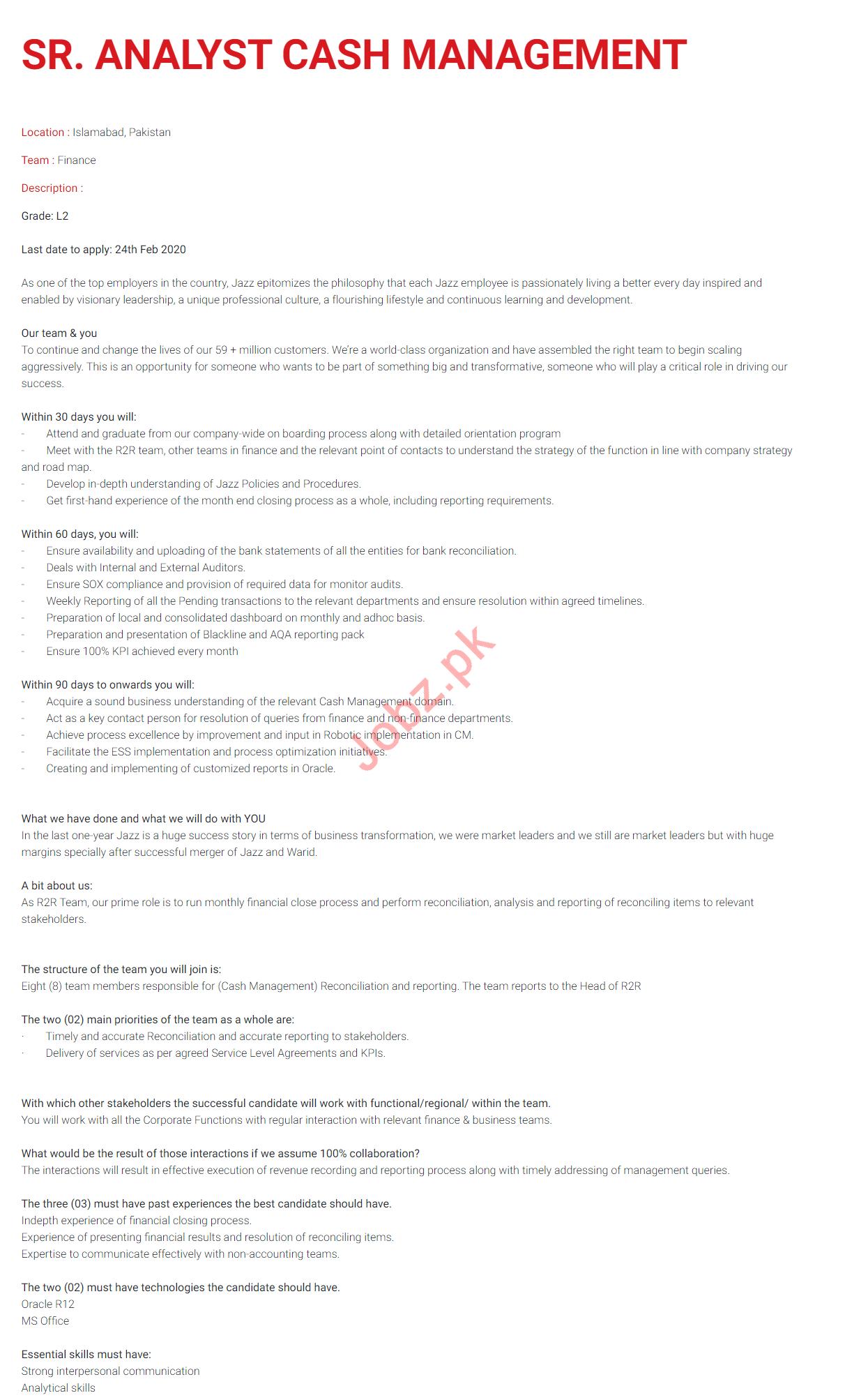 Analyst Cash Management Jobs in Jazz Telecom