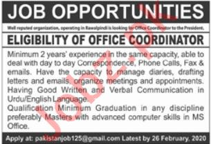 Office Coordinator Jobs in Private Company