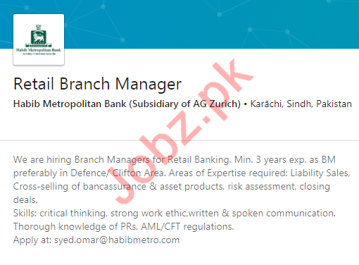 Habib Metropolitan Bank Karachi Jobs 2020 Branch Manager