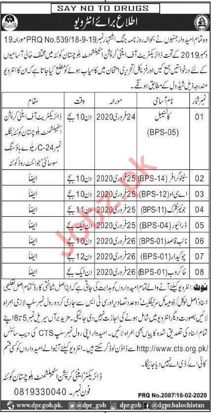 Directorate of Anti Curroption Establishment Jobs via CTS