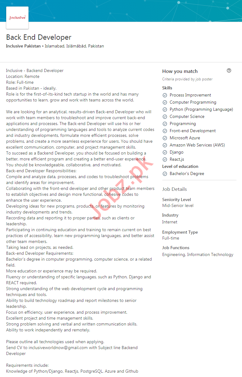Inclusive Pakistan Jobs 2020 for Back End Developer