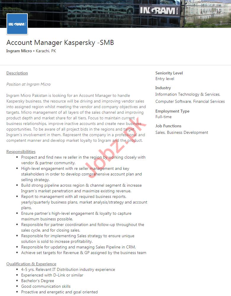 Ingram Micro Karachi Jobs 2020 for Account Manager