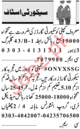 Daily jang Security Staff Jobs 2020 in Lahore