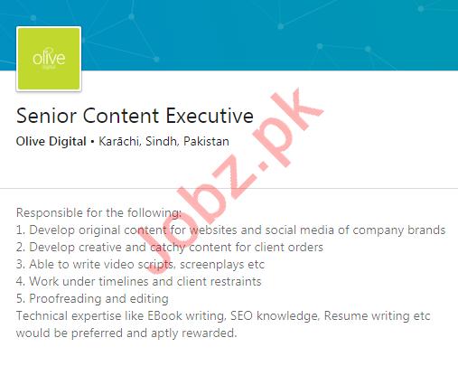 Olive Digital Karachi Jobs 2020 for Senior Content Executive