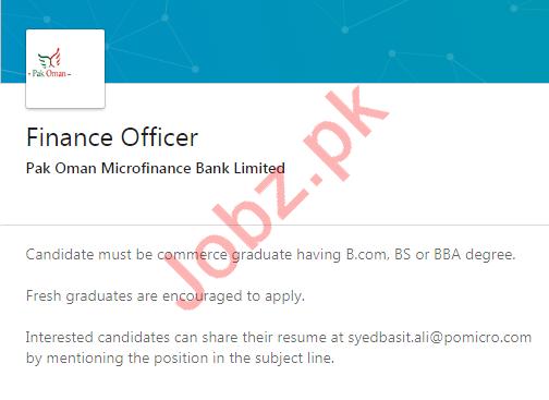 Pak Oman Microfinance Bank Jobs 2020 for Finance Officer