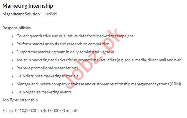 Marketing Intern Job 2020 in Karachi