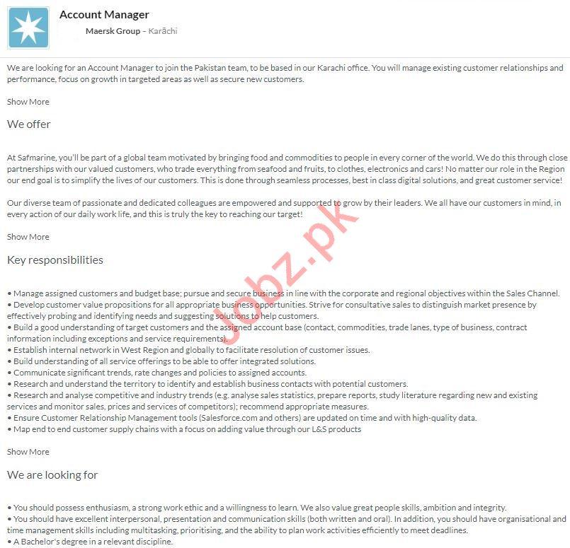 Account Manager Job 2020 in Karachi