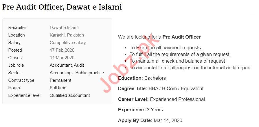 Dawat e Islami NGO Job 2020 In Karachi
