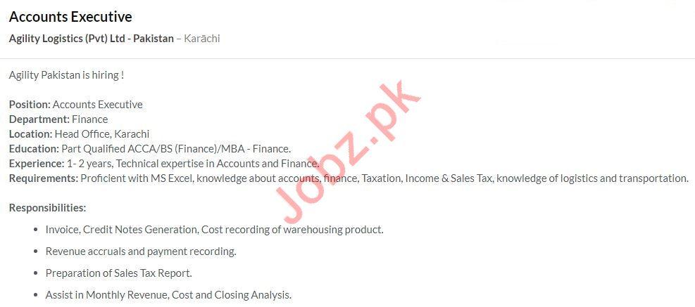 Accounts Executive Job 2020 in Karachi