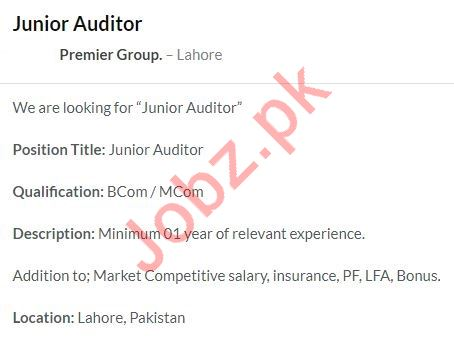 Junior Auditor Job 2020 in Lahore