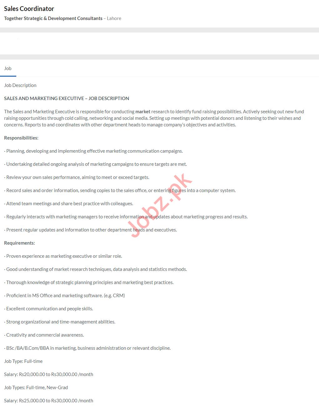 Sales Coordinator Job 2020 in Lahore