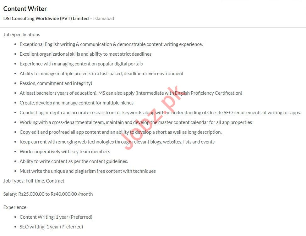 Content Writer Job 2020 in Islamabad