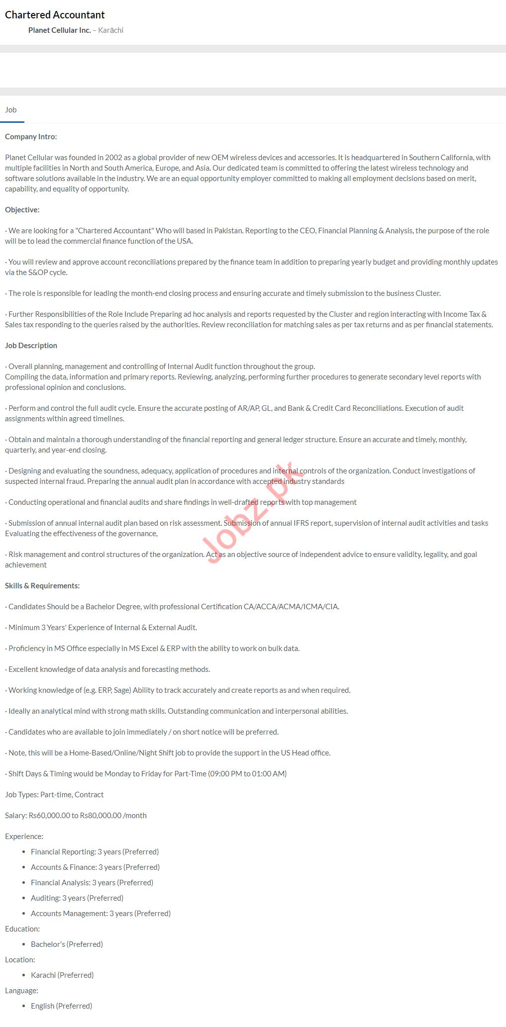 Chartered Accountant Job 2020 in Karachi