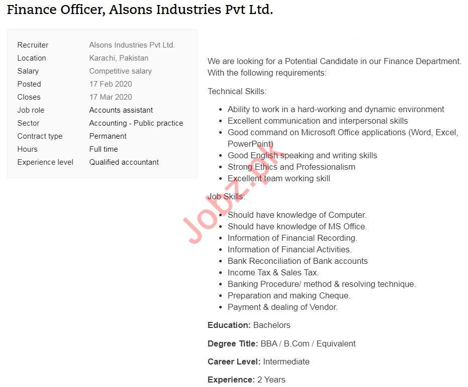 Finance Officer Job 2020 For Karachi