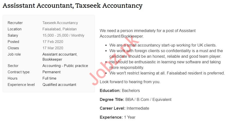 Assistant Accountant Job 2020 in Faisalabad