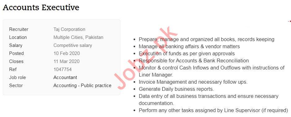 Accounts Executives Jobs 2020 in Islamabad, Karachi & Lahore