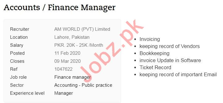 Accounts & Finance Manager Jobs 2020 in Lahore