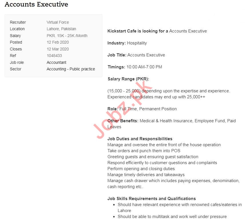 Accounts Executive Job 2020 in Lahore