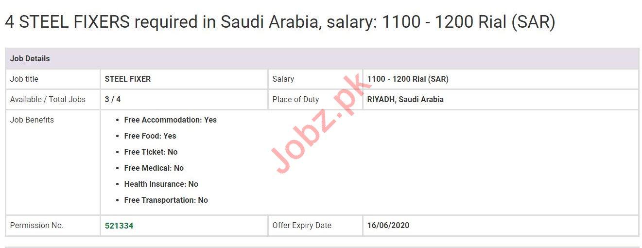 Steel Fixer Jobs in Riyadh Saudi Arabia
