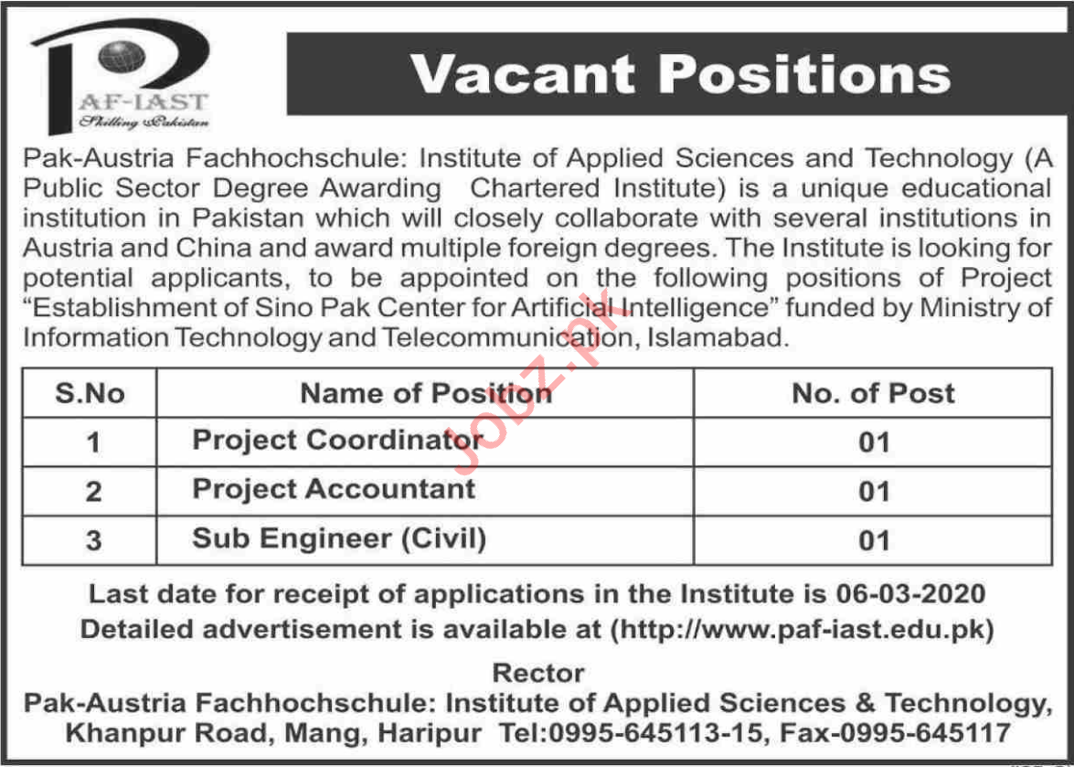 PAF Institute of Applied Sciences & Technology Jobs 2020