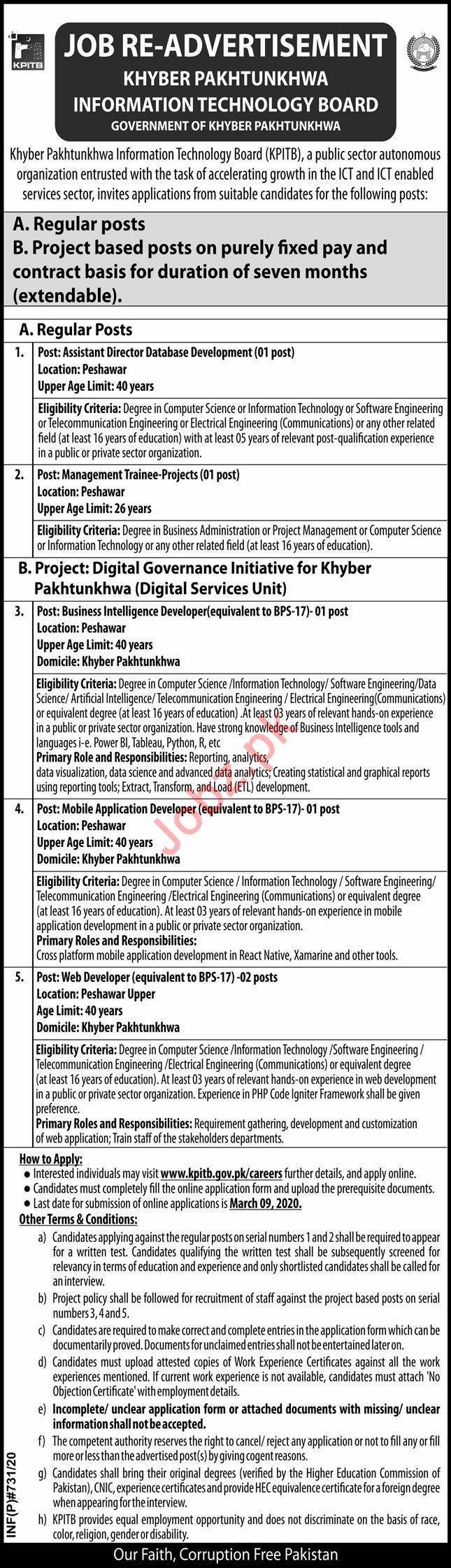 KPITB Management Jobs 2020 in Peshawar