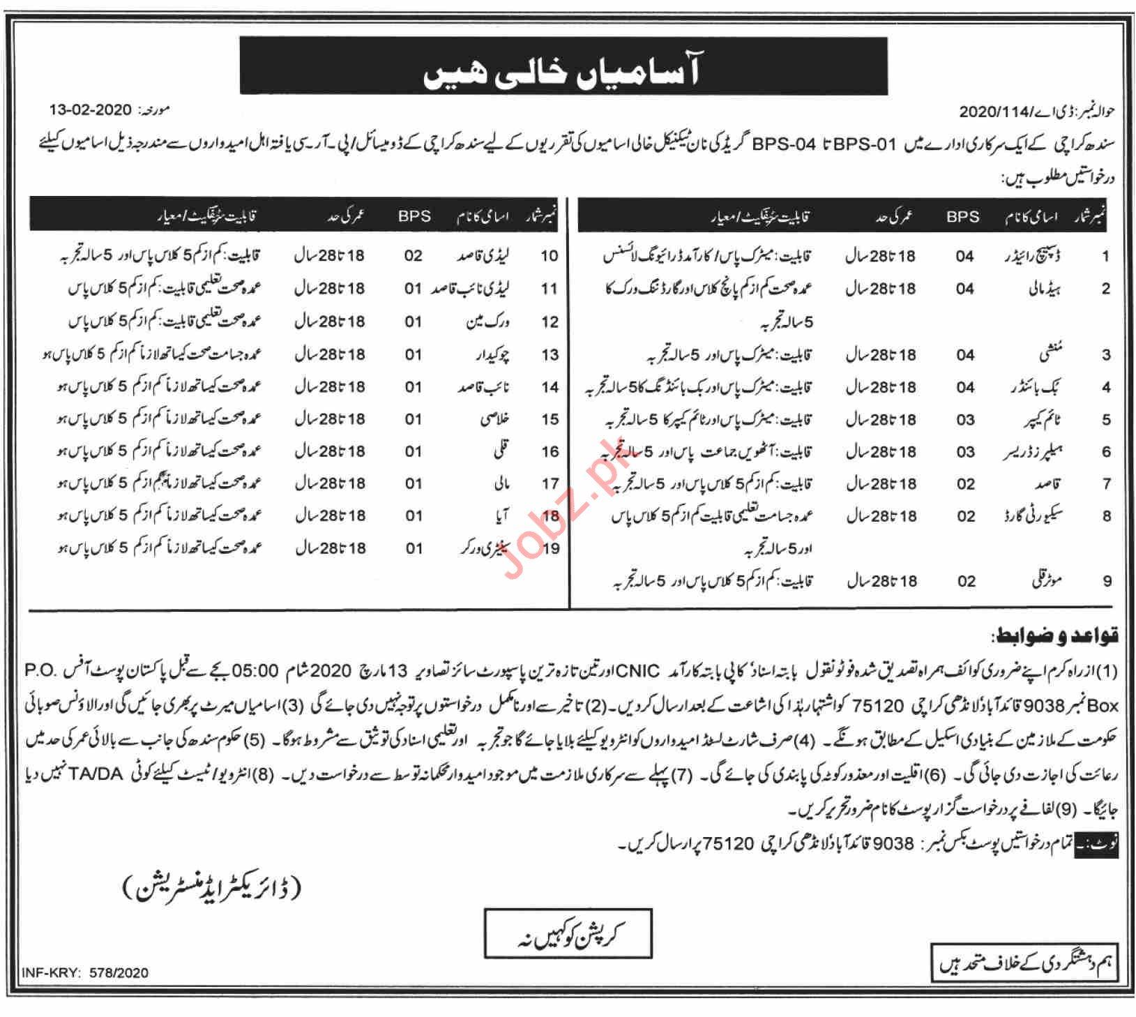 Public Sector Organization Karachi Jobs 2020 BPS 1 to BPS 4