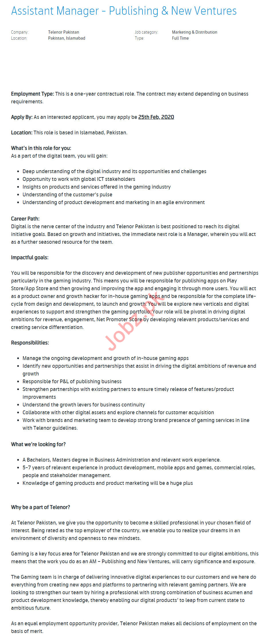 Telenor Pakistan Jobs 2020 for Assistant Manager