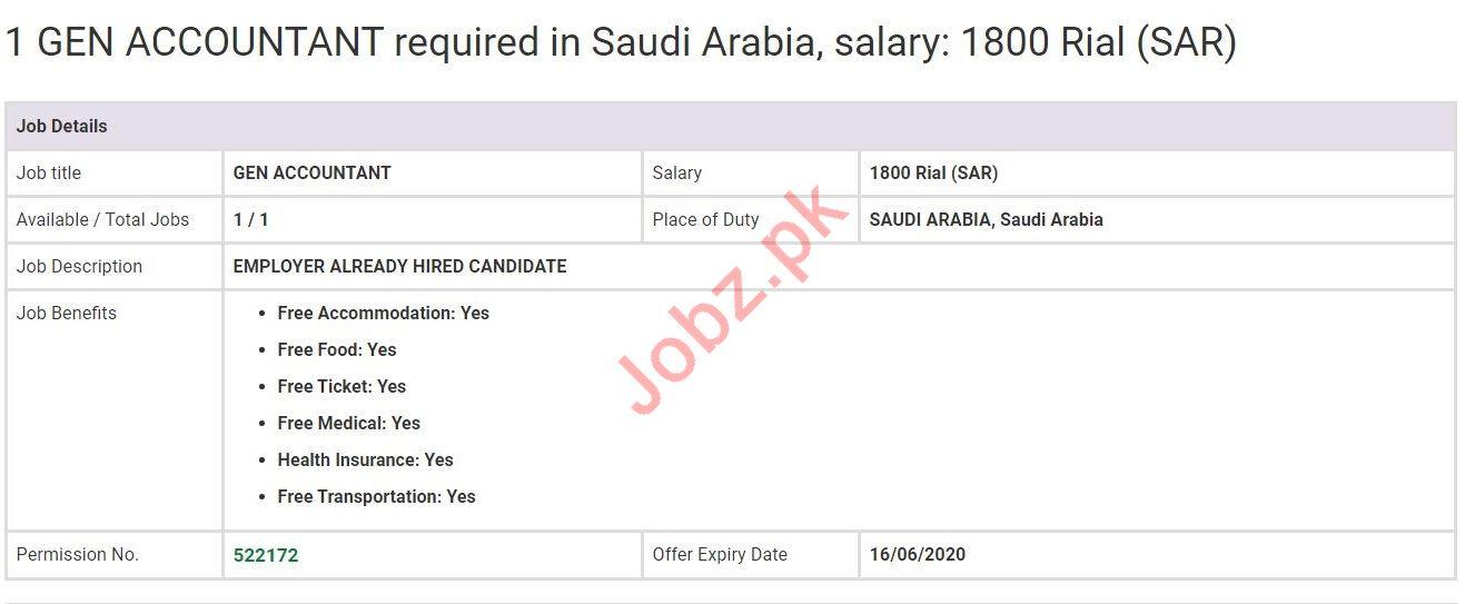 General Accountant Jobs in Saudi Arabia