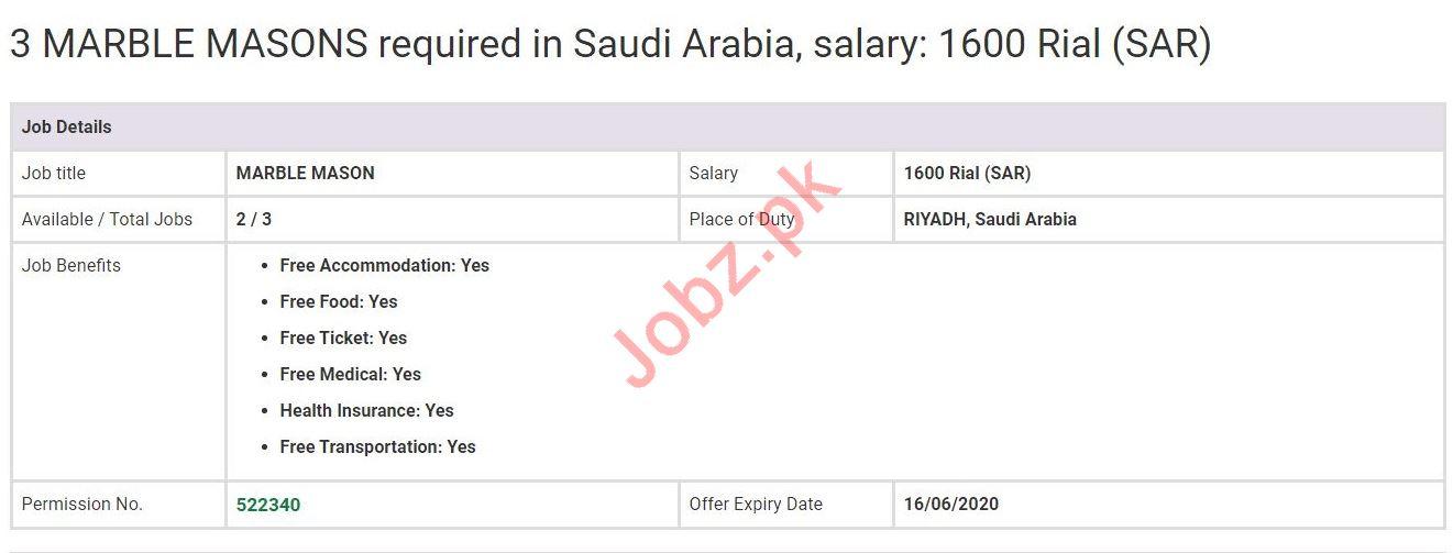 Marble Mason Jobs in Riyadh Saudi Arabia