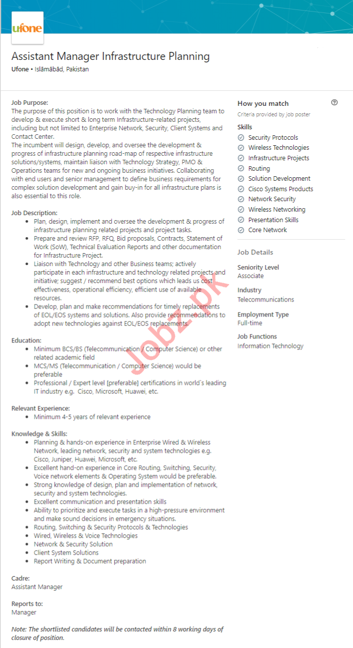Assistant Manager Infrastructure Planning Jobs 2020