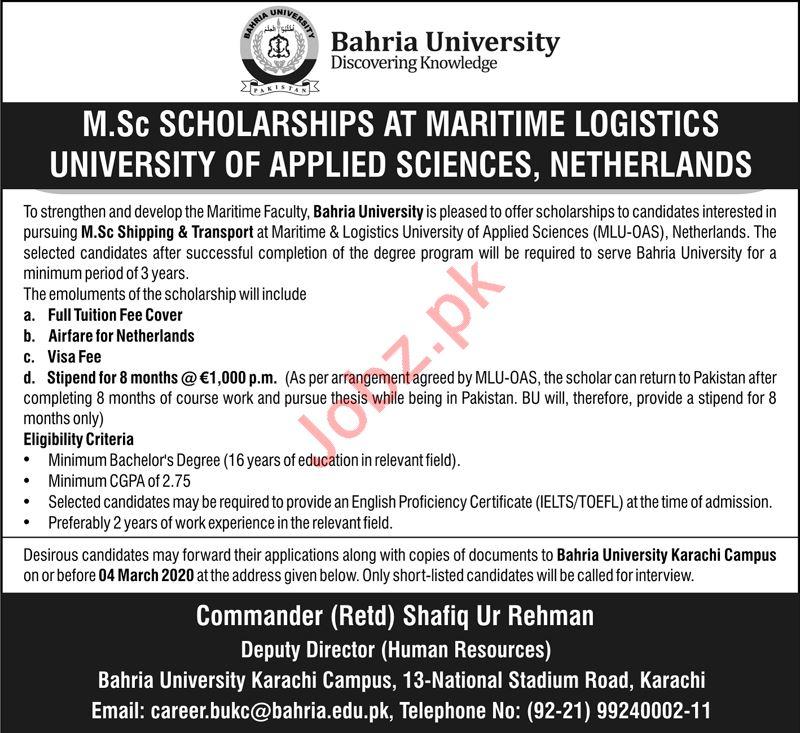 Bahria University MSc Shipping & Transport Scholarship 2020