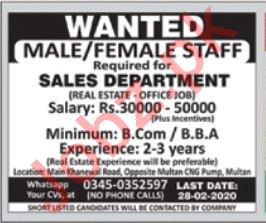 Sales Staff Jobs in Real Estate Company