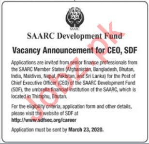 SAARC Development Fund SDF Chief Executive Officer CEO Jobs