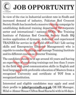 Pakistan Red Crescent Society Sindh Trainer Jobs 2020 in KHI