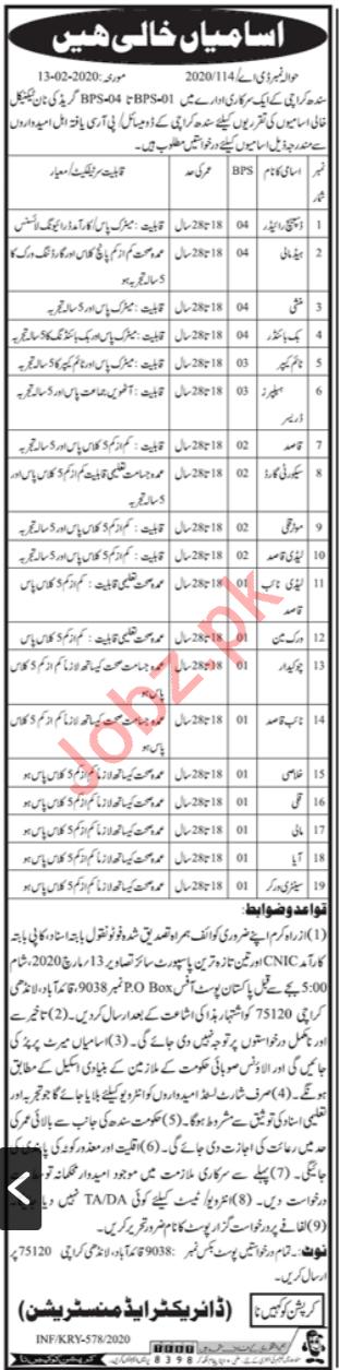 PO Box NO 9038 Quaidabad Karachi Non Technical Jobs 2020