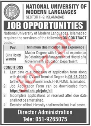 Hostel Warden Jobs in NUML University