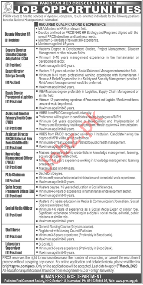 PRCS National Headquarter Islamabad Management Jobs 2020