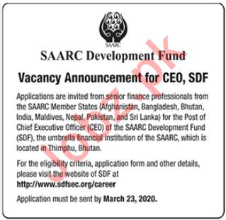Chief Executive Officer CEO Jobs in SAARC Development Fund