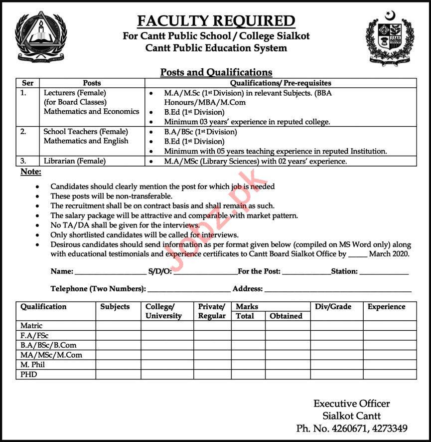 Cantt Public School & College Sialkot Teaching Staff Jobs