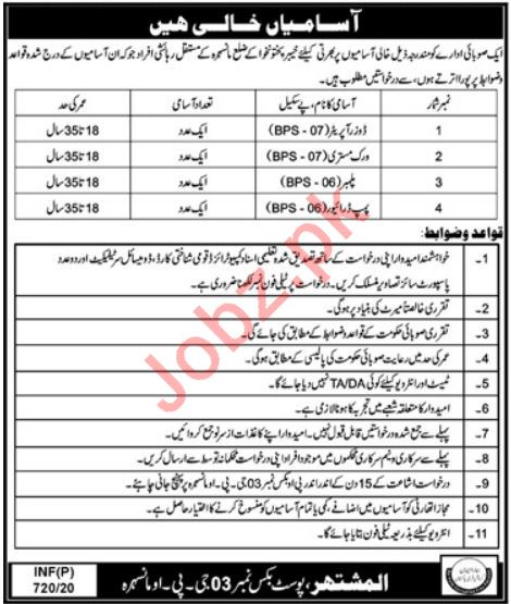 P O Box No 3 GPO Mansehra Jobs 2020 for Labours